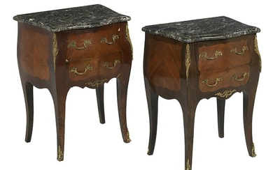 Pair of Louis XV-Style Marble-Top Petite Commodes