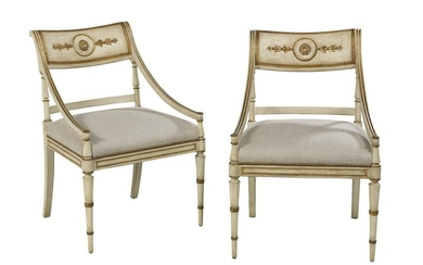 Pair of Regency-Style Creme-Peinte Armchairs