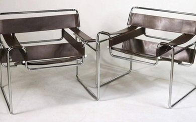 Pair of Wassily Leather-and-Chrome Chairs