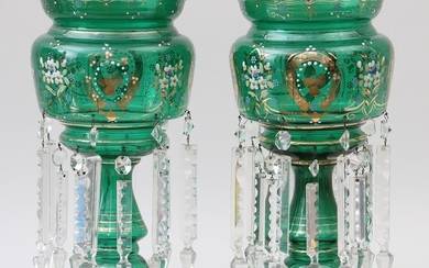 Pair of emerald green glass girandoles. FR3SH.