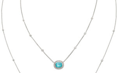 Paraiba-Type Tourmaline, Diamond, White Gold Necklace The necklace features...