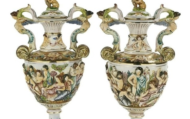 Pr of Italian R. Capodimonte Pottery Covered Urns