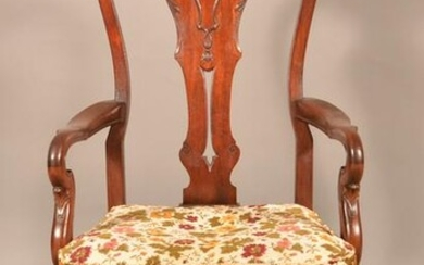Queen Anne Style Mahogany Armchair.