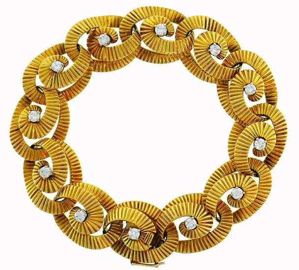 REGNER Diamond Yellow Gold Link BRACELET French