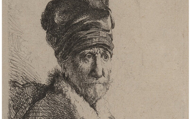 Rembrandt van Rijn (1606-1669), Bust of a man wearing a high cap, three-quarters right: the artist's father (1630)