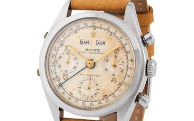 Rolex. Extremely Rare, Sought After and Historically Important Triple Calendar Chronograph Wristwatch in Steel, Reference 6036, Given as a Prize from Max Oberti to the Sailor Antonio Carattino, on the…