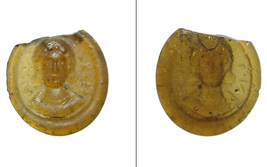 Roman yellow glass token with female bust