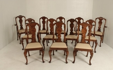 SET OF 12 ENGLISH QUEEN ANNE WALNUT DINING CHAIRS