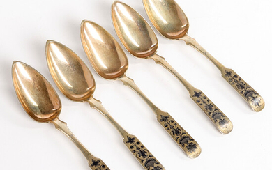 SPOONS, 5 pcs. , Silver with niello decoration, Moscow 1839, try Nikolay Dubrovin.