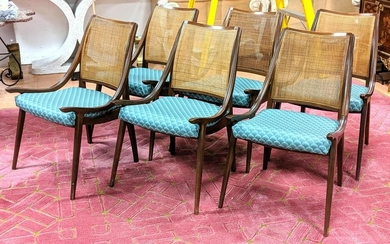 Set 6 Low Sloped Arm Dining Chairs. Nice form. Severa