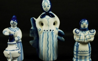 Set Of 3 Russian Porcelain Figures