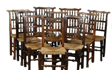 Set of 10 Antique Spindle Back Dining Chairs