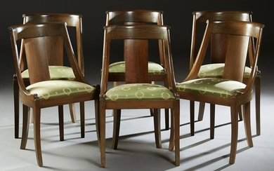 Set of Six French Carved Walnut Gondola Chairs, 19th