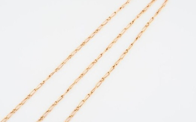 Set of two yellow gold (750) horse chain necklaces.