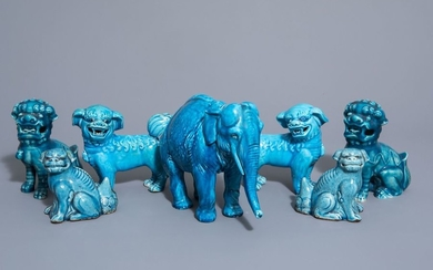 Seven Chinese monochrome turquoise models of animals, 19th/20th...