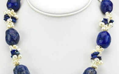 Sterling Lapis Lazuli & Baroque Pearl Necklace