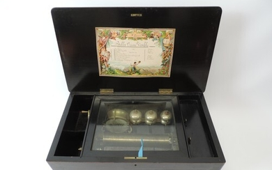 Swiss Music Box with Bells and Drum - Plays Eight Airs - Hea...