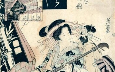 Three oban, including two tate-e and one yoko-e, two by Toyokuni III representing actors, and one by Eisen representing a young woman playing the samisen. (Spots, small accidents). One framed under glass.