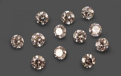 Twelve Loose Round Brilliant Cut Diamonds, weighing 0.30, 0.30, 0.31,...