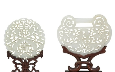 Two Chinese carved white jade large pendants Qing dynasty...