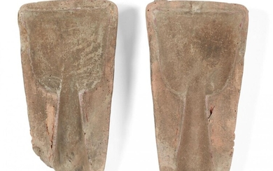 Two Chinese clay bronze moulds, Shang dynasty, probably for a...