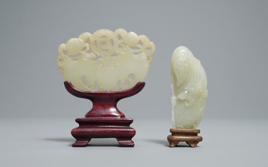 Two Chinese pale celadon jade carvings, Qing