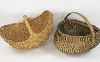 Two Woven Oak Split Southern Baskets