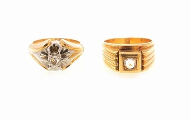 Two white and yellow gold diamond rings