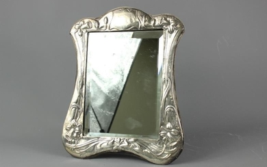 Victorian silver frame easel bevelled mirror, approx 30 x...