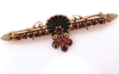 Vintage GARNET Enamel 14k Yellow Gold Bar Brooch