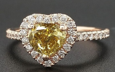 1.34ct Natural Fancy Vivid Greenish Yellow, Diamonds - 14 kt. Pink gold - Ring - ***No Reserve Price***