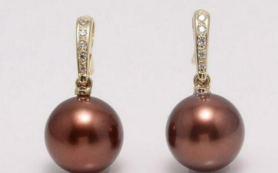 14 kt. Yellow Gold - 11mm Chocolate Tahitian Pearls