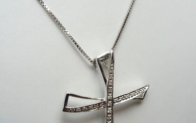 18 kt. White gold - Necklace with pendant - 0.30 ct Diamond
