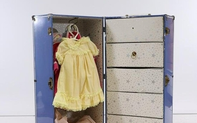 1950s Tin Doll's Steamer Trunk Full of Clothes