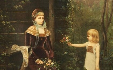 19TH C. O/C PAINTING OF YOUNG GIRL IN GARDEN SCENE