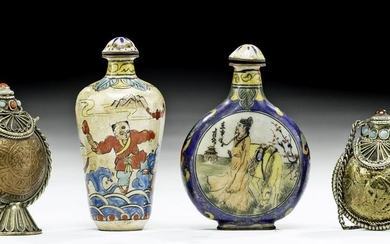 19th C. Chinese Glass & Brass Snuff Bottles (3)