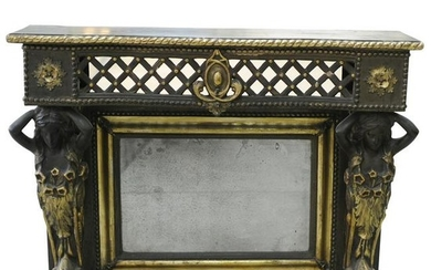 19th Cent. Wooden Mirror Console