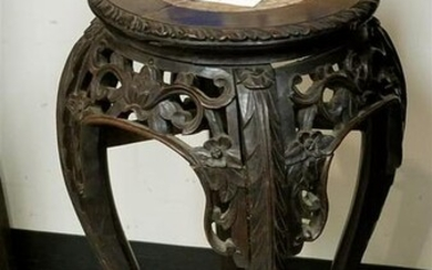 "19th c. CHINESE CARVED STAND W/ MARBLE TOP, 23.5""H X"