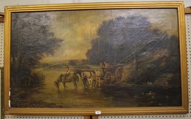 19th century English School Horses and cart fording a stream...