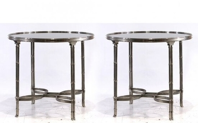 2 John Vesey Style Nickel plated Bronze & Marble Tables