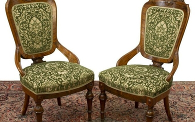 (2) VICTORIAN CARVED & UPHOLSTERED SIDE CHAIRS