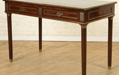 MAHOGANY LEATHER TOP BRONZE MOUNTED WRITING DESK