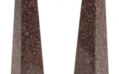 61071: A Pair of Italian Grand Tour Obelisks on Faux Bo