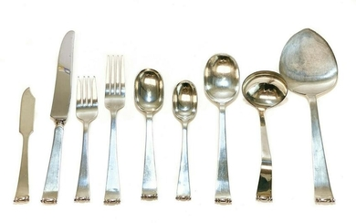 62pc Allan Adler Silver Flatware in Modern Georgian