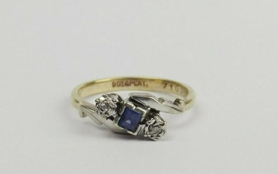 9ct Yellow Gold, Platinum Sapphire & Diamond Ring UK