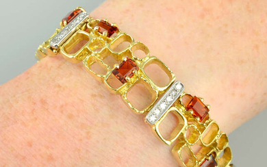 A 1970s 18ct gold citrine and diamond openwork bracelet, by Charles de Temple.
