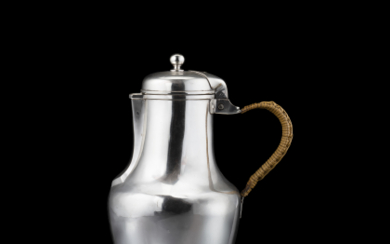 A 19th century French silver coffee pot, wicker handle...