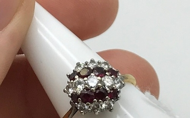A Beautiful example of a ladies Diamond and Ruby cluster rin...