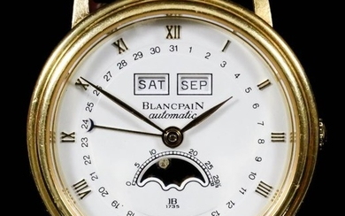 A Blancpain Automatic Wristwatch, Modern, 18ct Gold Cased, the...