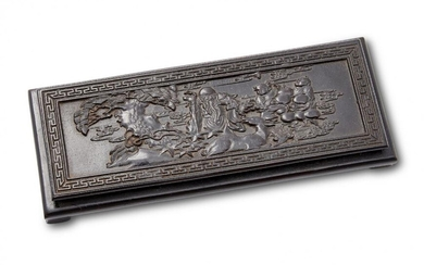 A Chinese carved wood rectangular stand, 20th...